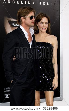 Angelina Jolie and Brad Pitt at the Los Angeles premiere of 'Salt' held at the Grauman's Chinese Theater in Los Angeles, USA on July 19, 2010.