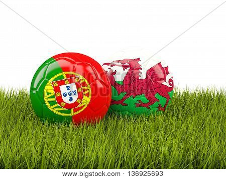 Wales And Portugal Soccer  Balls On Grass