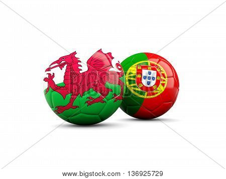 Wales And Portugal Soccer Balls Isolated On White
