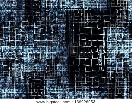 Abstract tech background - computer-generated image. Classic fractal geometry: chaos lattices of different sizes at random locations repetitive. Technology background for banners, web design, covers