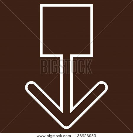 Pull Down vector icon. Style is stroke icon symbol, white color, brown background.