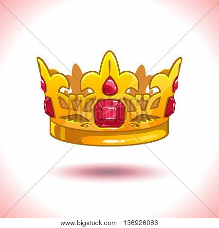 Fancy cartoon vector golden crown icon, isolated on white, game trophy asset