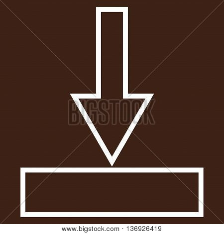 Push Down vector icon. Style is thin line icon symbol, white color, brown background.