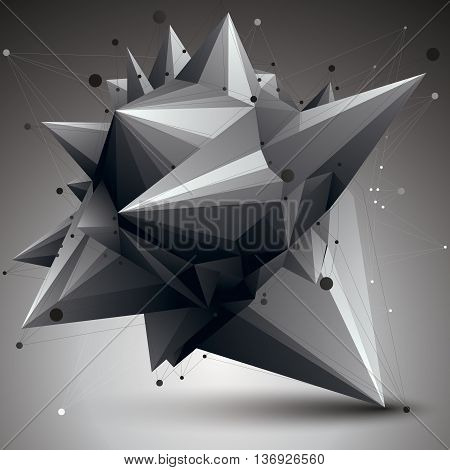 3D mesh contemporary style abstract object origami futuristic form with lines mesh.