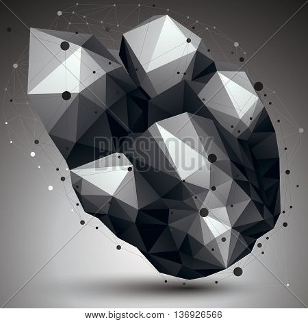 Abstract 3D structure polygonal network object grayscale deformed figure.