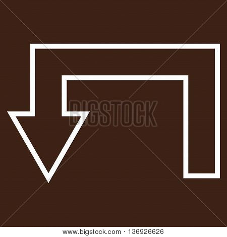Return Arrow vector icon. Style is outline icon symbol, white color, brown background.
