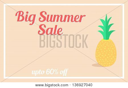 Retro summer sale banner design with pineapple
