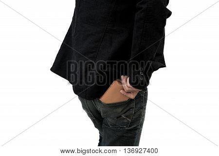 Young fashion man wearing jeans with pick the wallet on white background