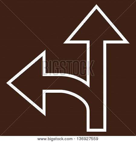 Split Direction Left Forward vector icon. Style is thin line icon symbol, white color, brown background.