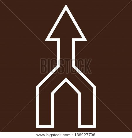Unite Arrow Up vector icon. Style is outline icon symbol, white color, brown background.