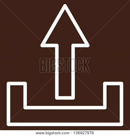 Upload vector icon. Style is stroke icon symbol, white color, brown background.