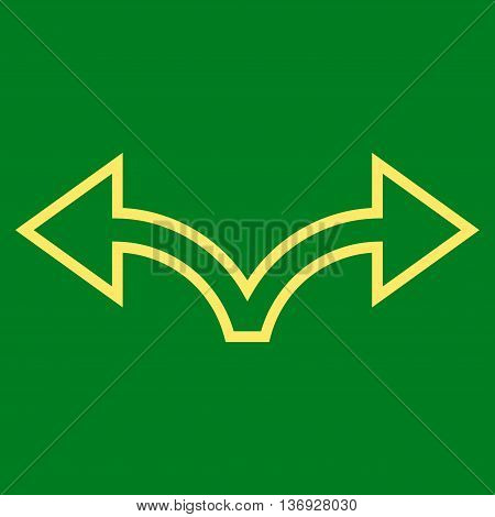 Bifurcation Arrow Left Right vector icon. Style is contour icon symbol, yellow color, green background.