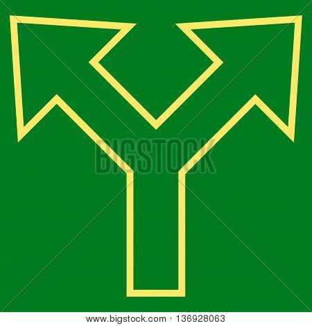 Bifurcation Arrow Left Right vector icon. Style is outline icon symbol, yellow color, green background.