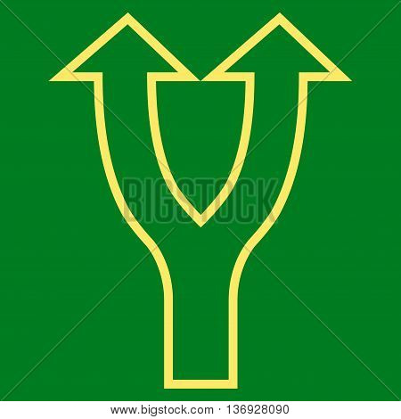 Bifurcation Arrow Up vector icon. Style is thin line icon symbol, yellow color, green background.