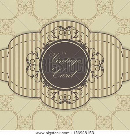 Vintage card with place for your text on brown background with pattern.