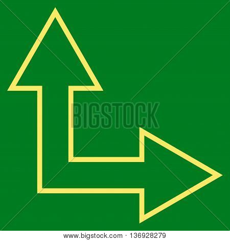 Choice Arrow Right Up vector icon. Style is thin line icon symbol, yellow color, green background.
