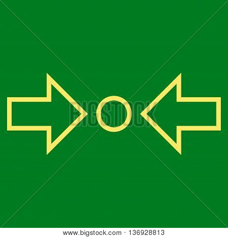 Compress Horizontal vector icon. Style is contour icon symbol, yellow color, green background.