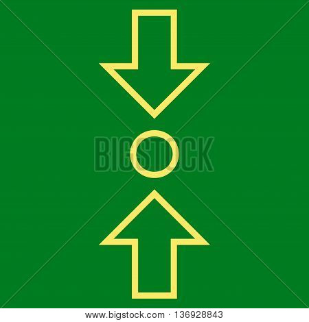 Compress Vertical vector icon. Style is contour icon symbol, yellow color, green background.