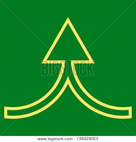 Connect Arrow Up vector icon. Style is outline icon symbol, yellow color, green background.