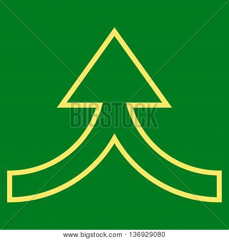 Connection Arrow Up vector icon. Style is thin line icon symbol, yellow color, green background.