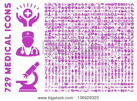 Medical Icon Set with 729 vector icons. Style is violet flat icons isolated on a white background.