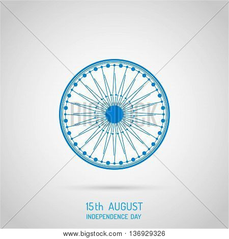 Indian Independence Day celebration with national flag colors and ashoka wheel for 15th of August Independence Day celebrations.