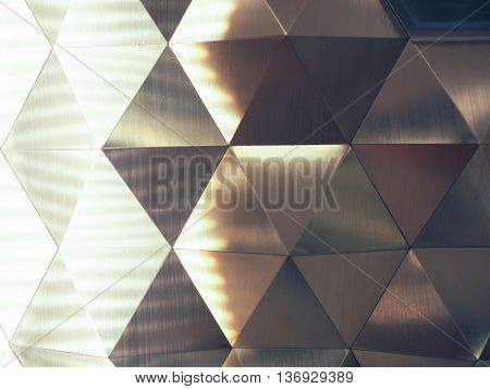 Silver Low Poly Geometric Abstract Background With Lighting On The Left