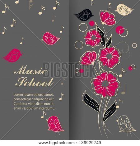 Vector illustration of singing birds, flowers and music notes.
