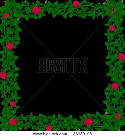 black background with weave of red roses and green leaves
