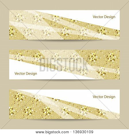 Set of horizontal banners with geometric pattern on yellow doted background. Business, science, medicine and technology design.