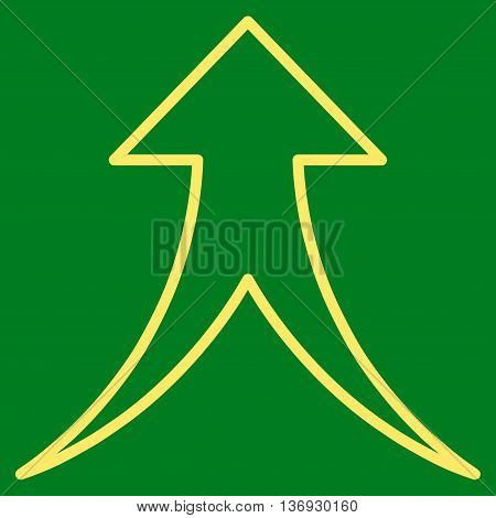 Merge Arrow Up vector icon. Style is thin line icon symbol, yellow color, green background.