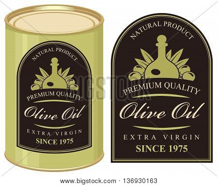 Vector illustration of a tin with label olive oil