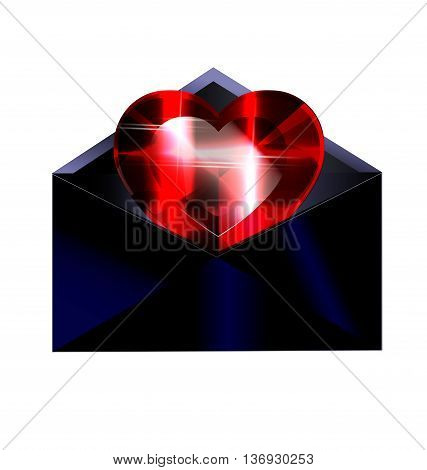white background and the dark envelope with red heart crystal inside