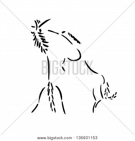 Fighting horses. Artistic grunge ink painting. Vector illustration isolated on white. Freehand horse logo. Rearing wild mustangs