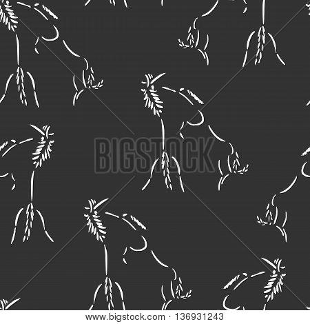 Seamless pattern with fighting horses. Artistic grunge ink painting. Vector illustration on dark background. Rearing wild mustangs