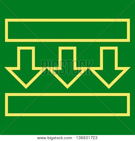 Pressure Vertical vector icon. Style is outline icon symbol, yellow color, green background.