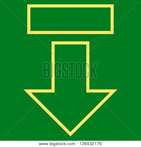 Pull Arrow Down vector icon. Style is stroke icon symbol, yellow color, green background.