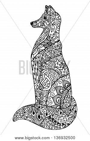 Abstract doodle outline fox illustration. Vector, black and white image.