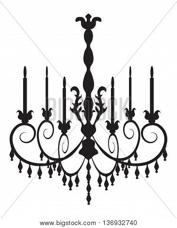 Classic chandelier on white background. Luxury decor accessory design. Vector illustration sketch