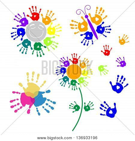 Set elements for design of a handprints