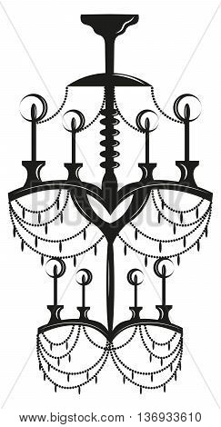 NeoClassic Modern chandelier on white background. Luxury decor accessory design. Vector illustration sketch