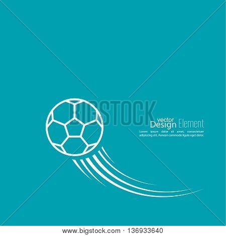 Vector icon of a soccer ball. football. Abstract background with vector image of flying soccer ball. layout for booklet, flyer, cover, preview, announcement, report.