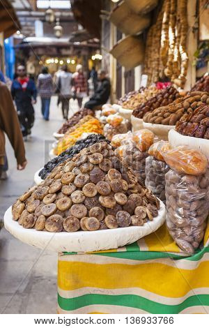 Selection Of Dry Dates On A Traditional Moroccan Market (souk) In Essaouira, Morocco