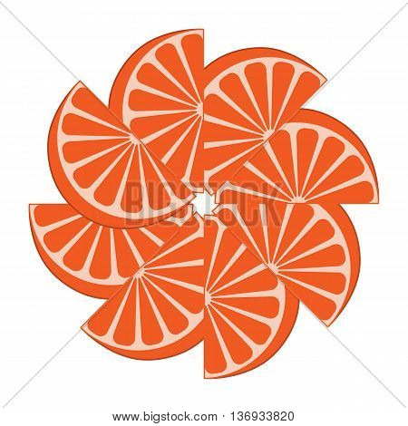 Picture of appetizing orange slices on a white background