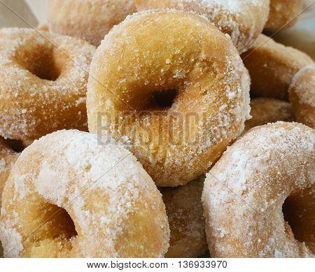 Powdered sugar Malaysian local doughnuts on display.