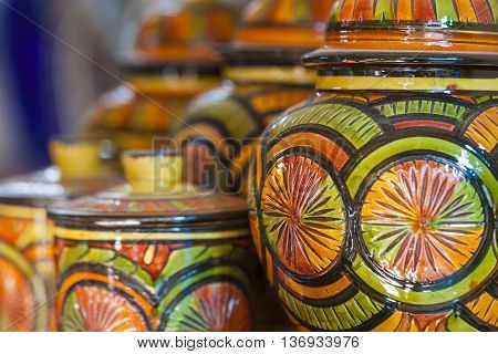 Selection Of Traditional Ceramics On Moroccan Market (souk) In Fes, Morocco