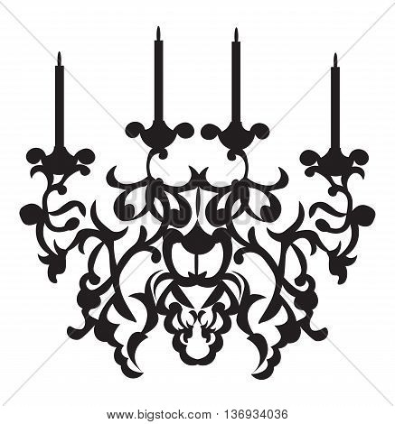Baroque Classic chandelier on white background. Luxury decor accessory design. Vector illustration sketch
