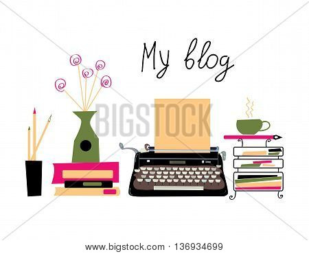 Blog banner with typing machine and books with nice design. Vector graphic illustration