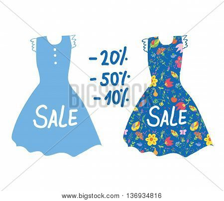 Summer sale banner with dresses for women. Vector graphic illustration