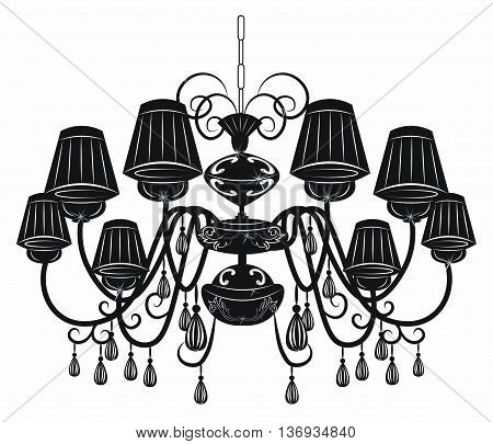 Classic chandelier with Crystals on white background. Luxury decor accessory design. Vector illustration sketch